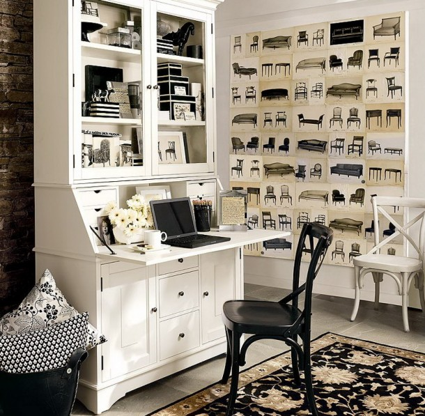 White Theme for Home Office Decorating 610x597